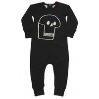 Skull Long Sleeve Playsuit Black | Babies Playsuits | Rock Your Baby