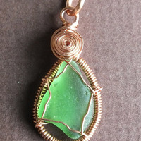 Green Sea Glass Pendant Wrapped in Copper Wire  luminous, green  gorgeous