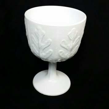 Vintage FTD Compote Milk Glass Goblet/Shabby Chic Oak Leaf Candy Dish/Beach Cottage Chic Candle Holder/Wedding Decor/Footed Milk Glass