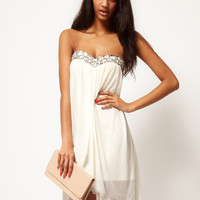 Strapless Mesh Dress With Embellished Bust