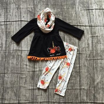 Halloween thanksgiving Fall/winter 3 pieces scarf baby girls children outfits unicorn pumpkin pant pom pom  boutique clothing