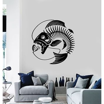 Vinyl Wall Decal Fishing Skeleton Seafood Restaurant Fish Rod Stickers Mural (g3020)