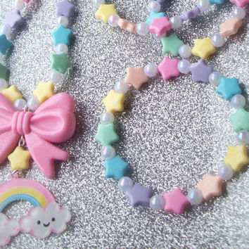 Sweet Skies - Pastel Happy Rainbow and Stars Necklace with Matching Stretch Bracelet