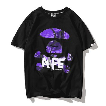 Bape Aape Summer New Fashion Camouflage Letter Print Women Men Top T-Shirt Black