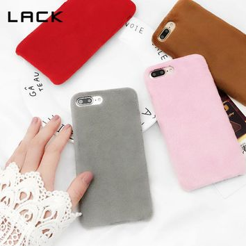 LACK Plush Warm Phone Cases For iphone 8 Plus Case Solid Candy Color Fuzzy Soft Protective Back Cover For iphone 8 Coque Fundas