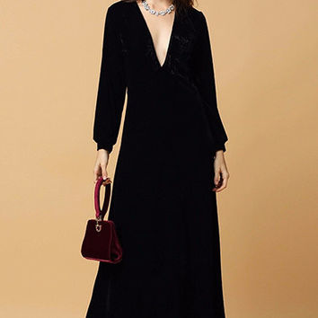 Black Velvet Long Sleeved Maxi Dress
