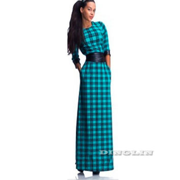 GZDL Vintage Women Plaid Print 3/4 Sleeve Dress Vestidos Casual O Neck Spring Summer Belted Evening Party Long Maxi Dress CL1965
