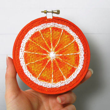 Any 3 Fruit Embroidery Hoop Art, Painted Burlap, Kitchen Wall Art, Fabric Wall Art, Hand Sewn Textile Art, Mixed Media Painting, Fiber Art