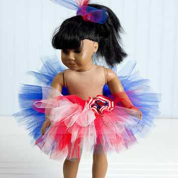 American Girl Doll Tutu Fourth of July by Tomastutusandthings