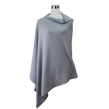 Solid Color Asymmetrical Poncho