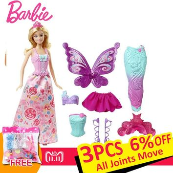 Original Barbie Fairytale Dress Up Doll Mermaid Girl Toys Gift S 159b9d544266