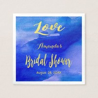 Love bridal shower blue and faux gold watercolor paper napkin