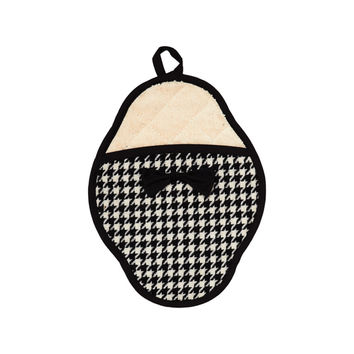 Woven Houndstooth Scalloped Pot Mitt