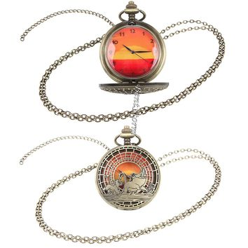 Licensed cool Disney The Lion King Timon Pumbaa Simba Sunset Pocket Watch Necklace Jewelry NEW