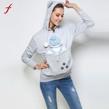 2017 Autumn Kangaroo Pet Dog Cat Holder Carrier Coat Pouch Large Pocket Hoodie Top Female Jumper Women Tracksuits Sportswear