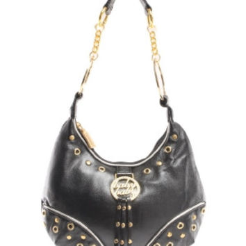 Fornt Tassel Studded Hobo Bag