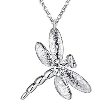 ON SALE - Lucky Dragonfly Pendant Sterling Silver Necklace