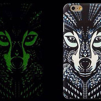 So Cool Night King Wolf Animal Handmade Carving Luminous Light Up iPhone Cases for 5S 6 6S Plus Free Shipping