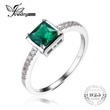 Square 0.5ct Green Emerald Solitaire Ring