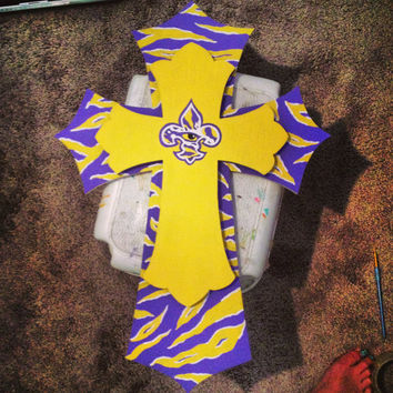 Hand Painted LSU Tigers Eye & Stripe Cross