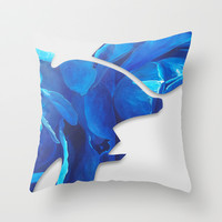 BLUE Throw Pillow by JESSE OLWEN