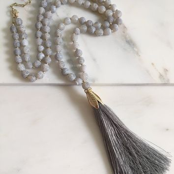 In Alignment Beaded Tassel Necklace - Agate