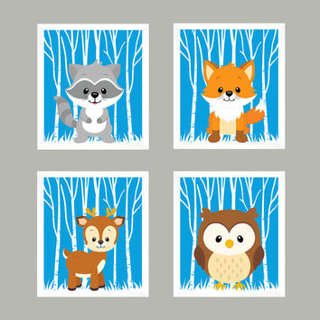 Forest Animals on Pool, Woodland Animals, CUSTOMIZE COLORS, 8x10 Prints, set of 4, Nursery Decor, Animal Print, Baby Boy Wall Prints