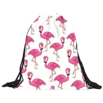 Pink Flamingo Drawstring Bags Cinch String Backpack Funny Funky Cute Novelty