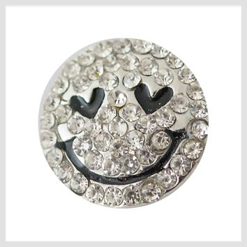 Smiley Face Clear Rhinestones 20mm 3/4""