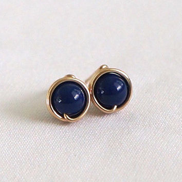 Navy Pearl Stud Earings, Gold Filled Post Earrings, Navy Blue Earring Stud, Wire Wrapped Jewelry Handmade, Swarovski Blue Gold Earrings