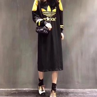 """Adidas"" Women Fashion Casual Multicolor Clover Letter Embroidery Long Sleeve T-shirt Maxi Dress"