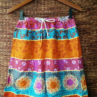 Unisex Orange Shorts colorful Printed Festival Boho Hippies Hipster Cloth Baggy Men fashion Clothing Summer Beach Multicolor Ethnic Indian