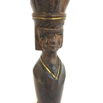 Vintage Wood Carved African Man Hat Bottle Opener Brass Ethnic Tribal