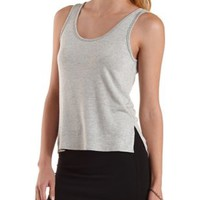 Gray Caged Back High-Low Tank Top by Charlotte Russe