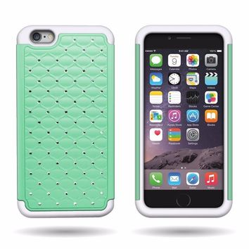 Apple iPhone 6s Plus Case / 6 Plus Case Crystal Rhinestone Slim Hybrid Dual Layer Case - Teal/White 2