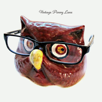 Handmade Eyeglasses Holder, Ceramic Owl Eye Glasses Stand / Cradle