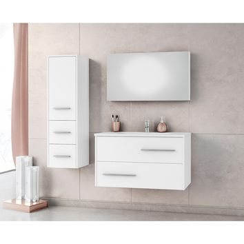 DP Fancy Wall Bathroom Vanity Cabinet Set Single Sink, White Gloss Lacquer