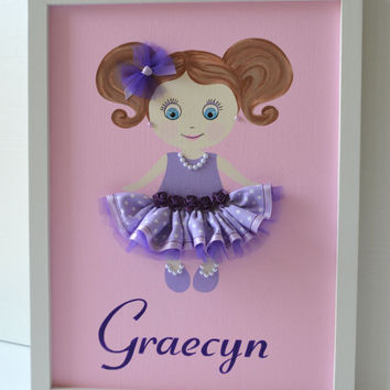 Personalised Doll Canvas. Nursery Wall Art.