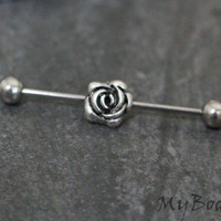 Rose Industrial Piercing, Silver Industrial Barbell 14g, Scaffold Piercing, Industrial Earring,Scaffold Earring,Industrial Jewelry Jewellery