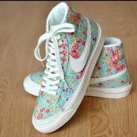 NIKE Women Men Running Sport Casual Shoes Sneakers high tops Floral blue