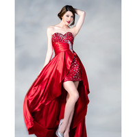 2013 Prom Dresses - Red Sequin & Satin High-Low Prom Gown - Unique Vintage - Prom dresses, retro dresses, retro swimsuits.