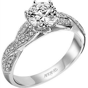 "Artcarved ""Calla"" Twist Shank Diamond Engagement Ring"