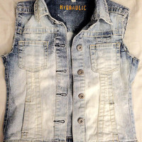 Hand-Distressed Acid Wash Vest size XS from ShopWunderlust