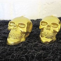 Gold Skull Miniature Candle Set