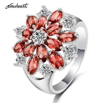 XMUHEART Ring For Women Engagement Fashion Jewelry Crystal Flower Red 7 Colors Copper Ring Silver Color Ladies High Quality