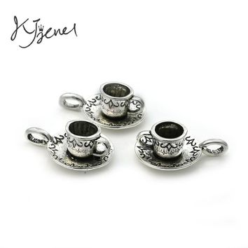 KJjewel Tibetan Silver Plated Coffee Cup Teapot Charms Pendants Jewelry Making Bracelet Findings Diy Handmade Crafts Accessories