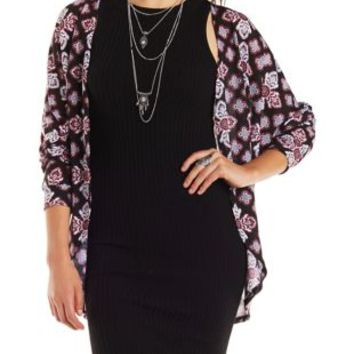Black Combo Medallion Print Cocoon Cardigan by Charlotte Russe
