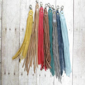 Leather Bag Charm Leather Fringe Bag Clip Long Fringe Tassel Leather Bag Tassel