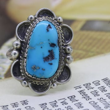 Vintage Silver and Turquoise Ring | Gemstone Ring | Stacking Ring | Native American Ring | 1970s Hippie Jewelry | Boho Jewelry | Size 7