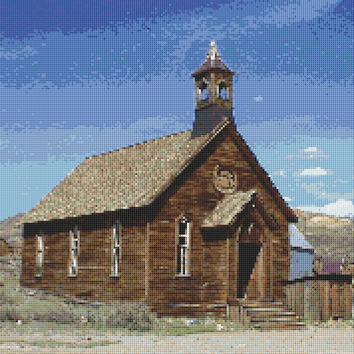 Brown Church, Ghost Town, California, Counted Cross Stitch Pattern, Xstitch Download PDF Pattern